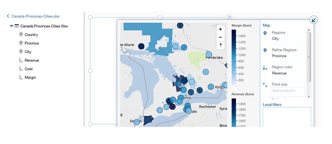 geospatial heirarchies in cognos 11.0.6