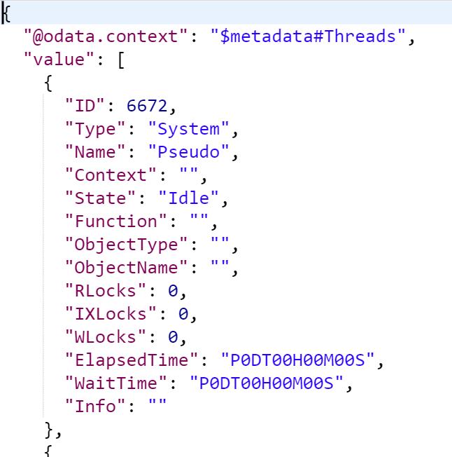 JSON Exchange Data Screen Capture