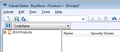 products in the subset editor