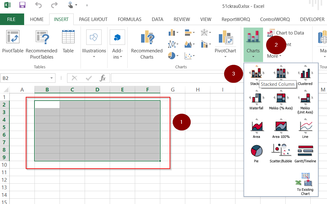 Screenshot example of a higlighted range of excel report object