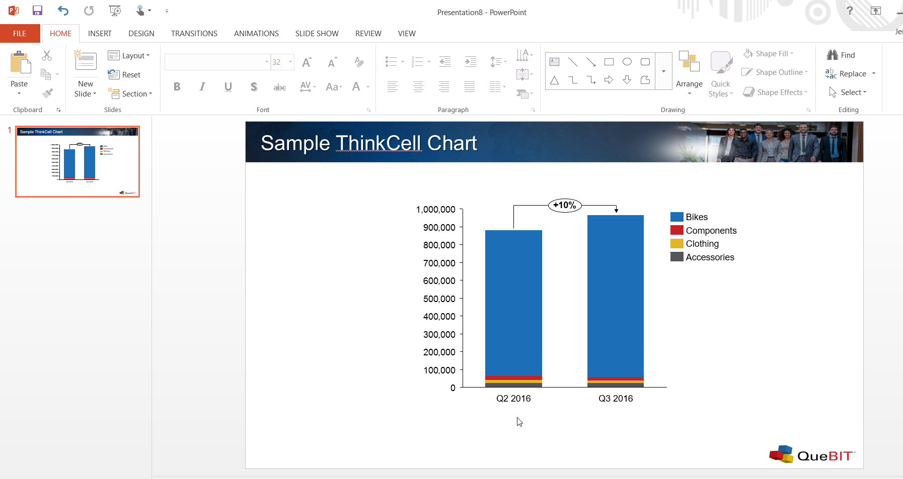 screenshot of thinkcell chart adapted to slide themes applied via slide master