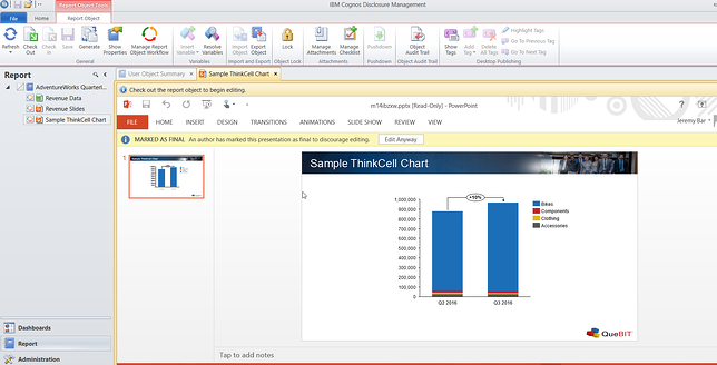 Example of adding CDM functionality on the chart in PowerPoint