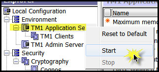 screenshot - right click tm1 application server and click start